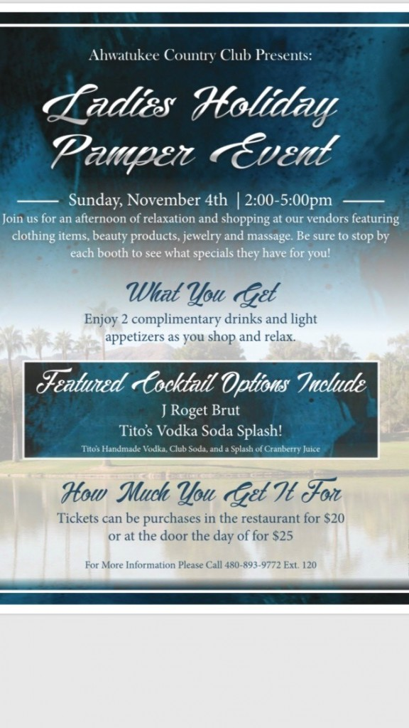 Ladies Holiday Pamper Event flyer